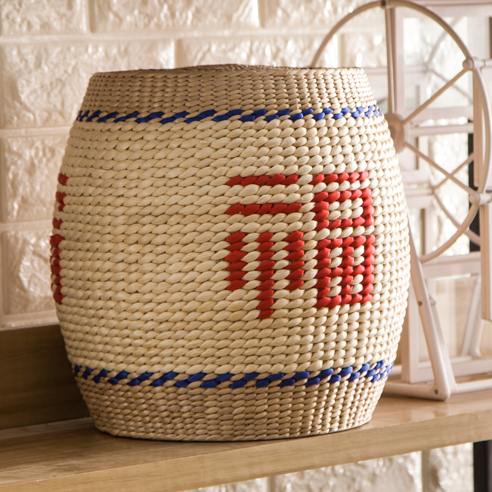 Rattan round stool handmade seagrass chair