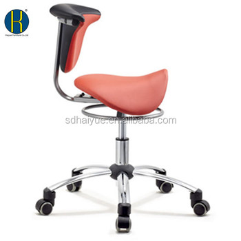New Red Pu Leather Ergonomic Dental Assistant Chair Saddle