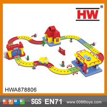 High Quality Plastic Electric Gas Station House Kids Car Wash Toy With Rail