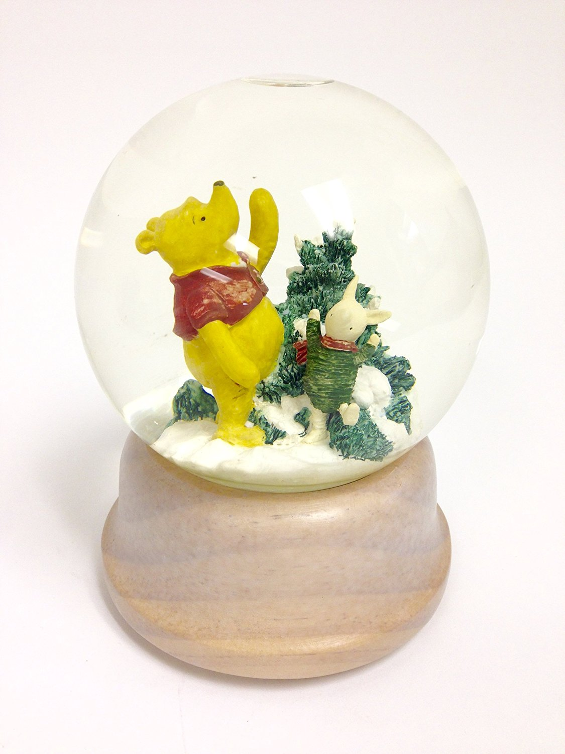 "Classic Winnie The Pooh & Piglet Snow Globe ""We Wish You A Merry Christmas"""