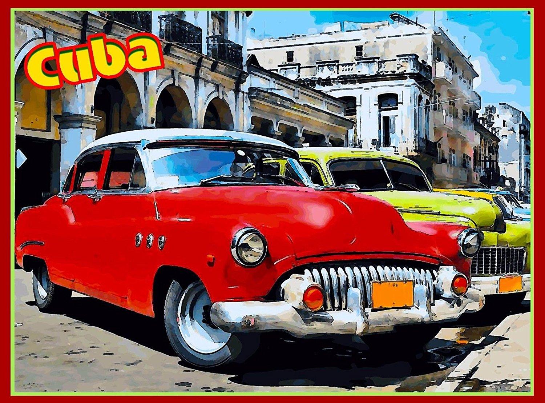Cuba Cuban Havana Caribbean Island Retro Travel Advertisement Art Poster Print