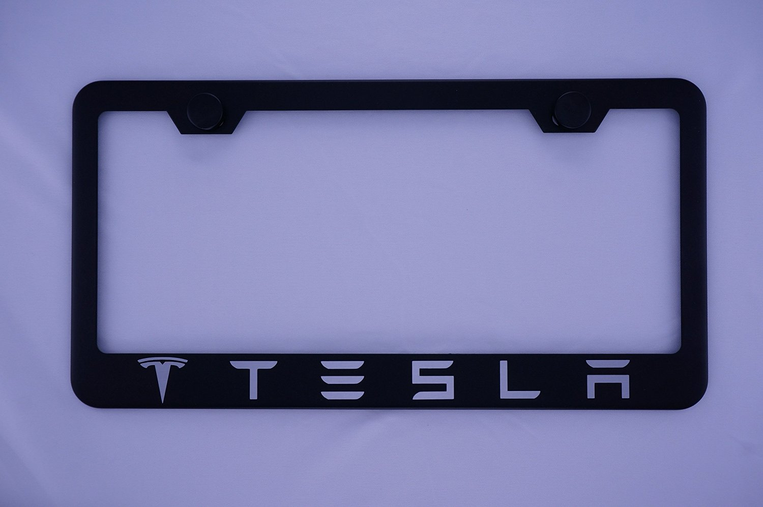 Tesla 2 Logo Car Tag Diamond Etched on White Aluminum License Plate