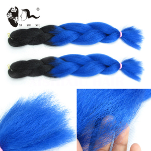 Aliexpress 1B/Blue Two Tone Jumbo Ombre Braiding Hair Made of High Quality angels synthetic hair Jumbo Braids