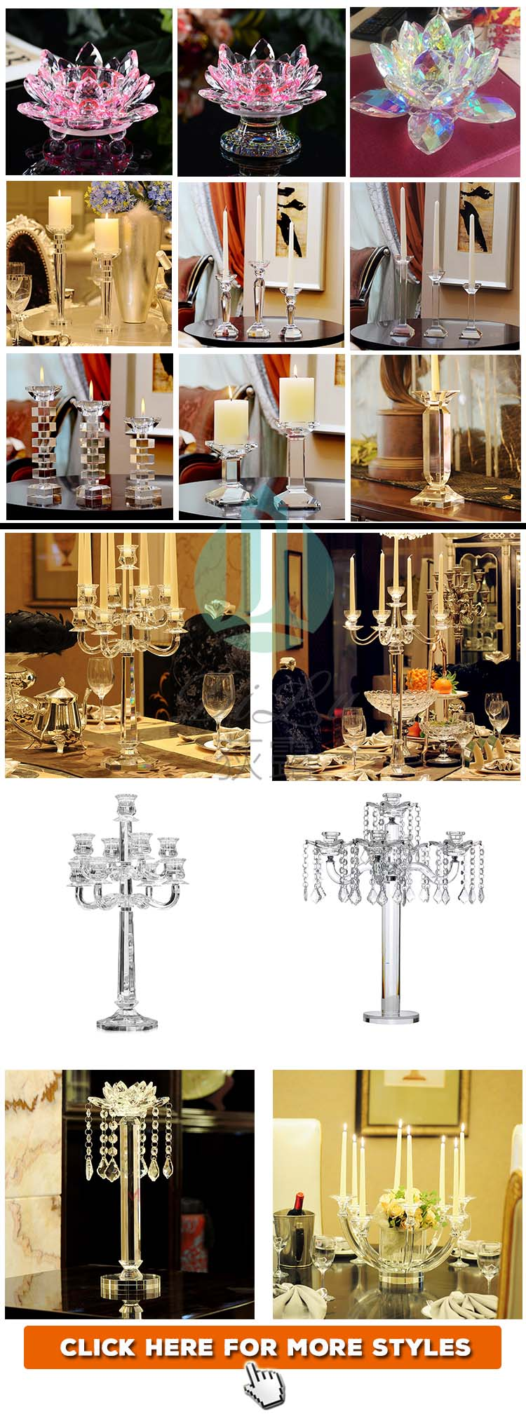 Wholesale Wedding Favor Decoration K9 Acrylic Crystal Candelabra Lotus Flower Home Decoration Pieces Candle Holder