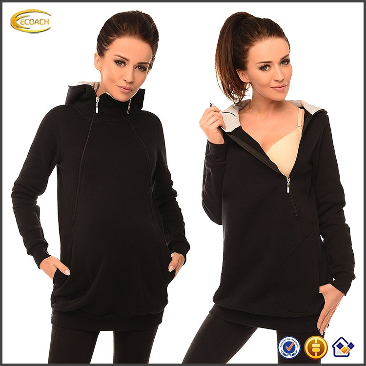 Ecoach wholesale 2 in1 Pregnancy and Discreet Nursing test Hoodie with Zips