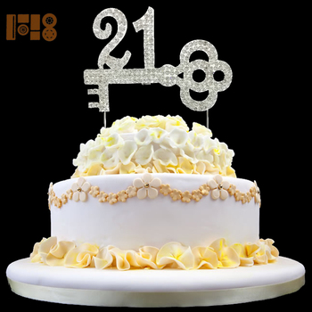 Key Shape Sparking 21st Crystal Rhinestone Cake Topper For Birthday
