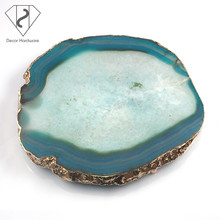 High quality agate slice colorful wedding decoration serving tray