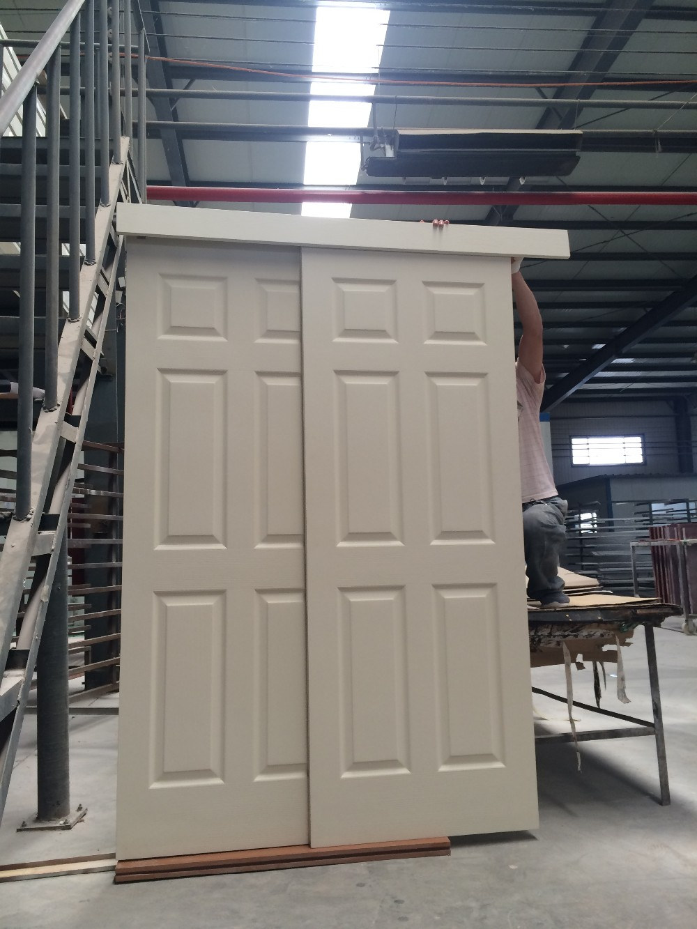 White 6 Panel Hdf Moulded Sliding Barn Doors Interior
