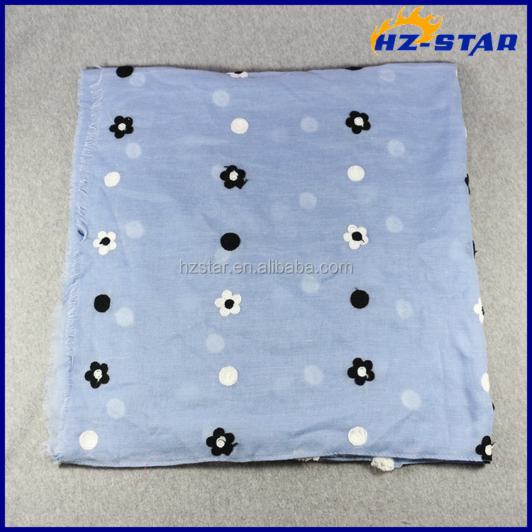 HZW-16086001 new design voile embroidery scarf women hijab 2016