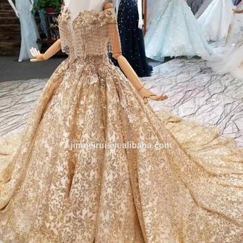 Champagne Gold Dubai Evening Dresses Deep V Neck with Cap Sleeves Shining Crystals Tassels Ball Gown Prom Party Dresses