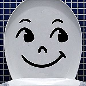 Funnytoday365 Beautiful Design Funny Cartoon Smile Face Toilet Seat Stickers Bathroom Wall Decals Diy Art
