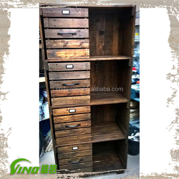 Rustic Wooden Display Rack Furniture Clothing Cabinet With Drawers Vintage Pallet Tier Stand