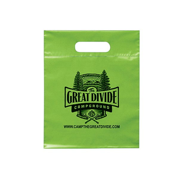 TOP Double film die cut handle Custom logo printed PE Materials plastic shopping merchandise bags with extra capacity