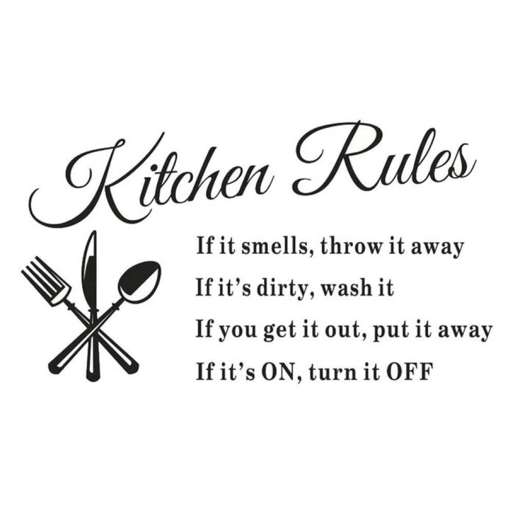 Iuhan® Fashion Removable Kitchen Rules Words Wall Stickers Decal Home Decor Vinyl Art Mural