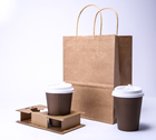 Wholesale custom coffee corrugated paper cup holder/disposable milk tea coffee kraft corrugated paper bag