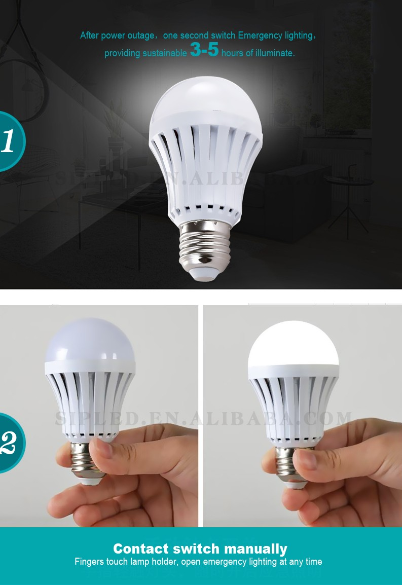 Rechargeable White Lamp Bulb Ac/dc Led Emergency Bulb Light