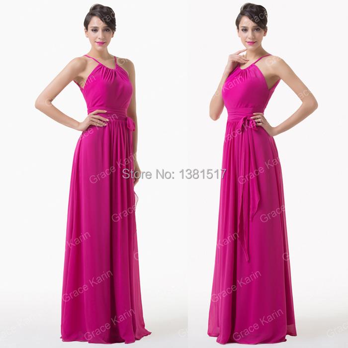 Get Quotations · Grace Karin New Women Sleeveless Chiffon Gown Long Deep  Pink Evening Dresses A-Line Prom 2f93266fc099