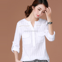 AL2679W Korean style white blouse for women lady clothing casual long sleeve tops shirt