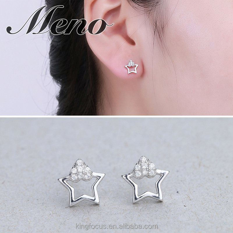 Meno S925 silver five pointed star stud western element fashion jewelry gift