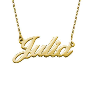 Fashion Jewelry 2018 Classic 18K Gold Plated Custom Name Plate Necklace Gold For Women