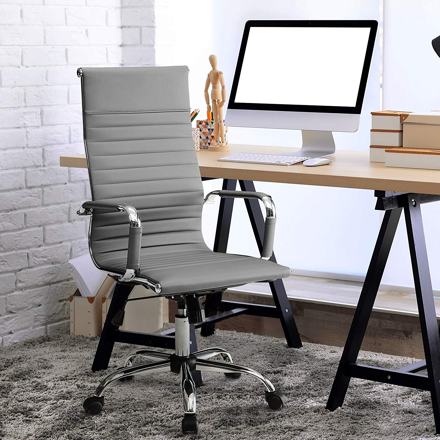Sophisticated Sardar Ribbed Office Chair, Comfortable High-Back Design, Sleek Faux Leather Upholstery, Contoured Back and Padded Arm Rests, Pneumatic Gas Lift, Smooth Caster Wheels, Multiple Finishes