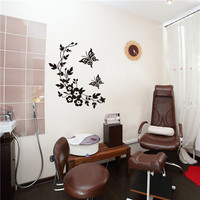 Flower Leaves Butterfly Green PVC Bathroom Decor Wall Tile Stickers