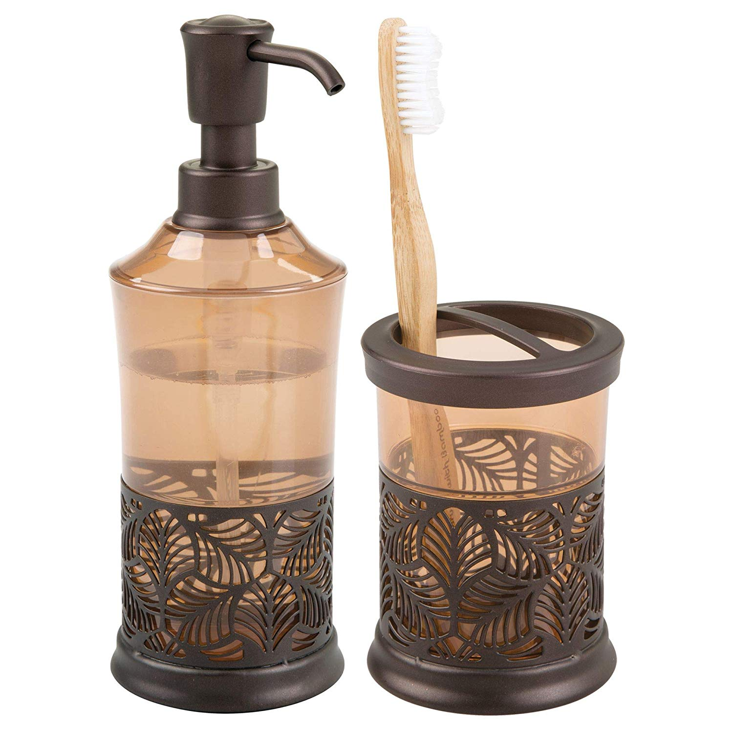 mDesign Decorative Bath Accessory Set with Leaf Design for Bathroom Vanity Countertops and Sinks, Includes Hand Soap Dispenser and Toothbrush Holder - Set of 2, Sand/Bronze