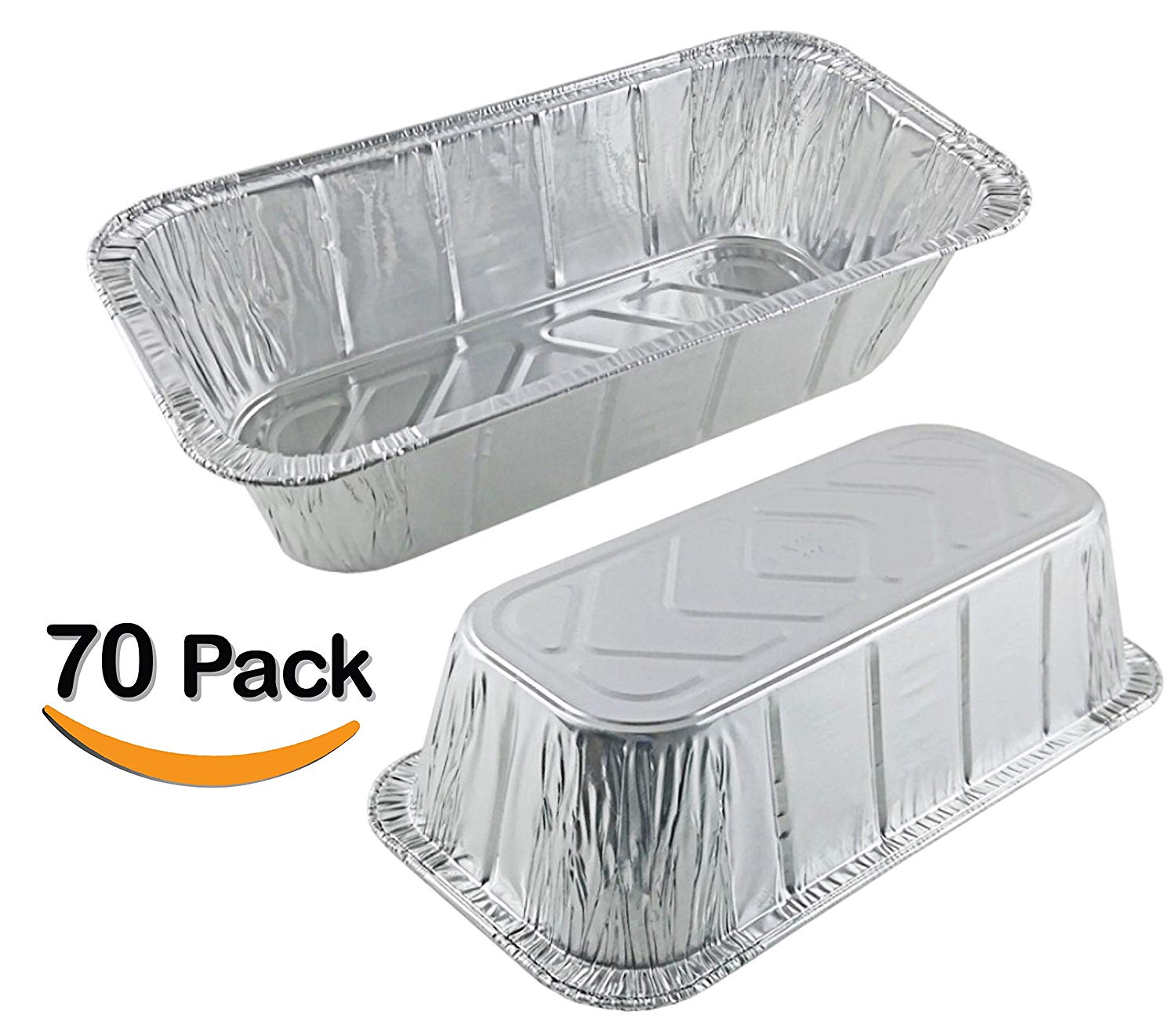 """70 Pack 2LB - Loaf Pans - Bread Pans l Disposable Aluminum Loaf Pans, Aluminum Bread Pans l For Homemade Cakes and Breads, Meatloaf - Standard Size, 2 Pounds - 8.5"""" X 4.5"""" X 2.5"""""""