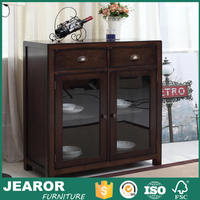 Modern Solid Wooden Rustic Glass Door Dining Room Buffet Cabinets with Drawers 2203