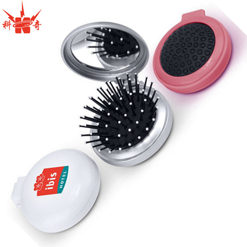 Plastic Hair brush Pocket Mirror Folding Comb With Mirror