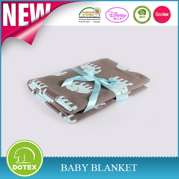 Soft softextile baby knitted throw blanket cotton baby blanket with elephant printing knitted fabric