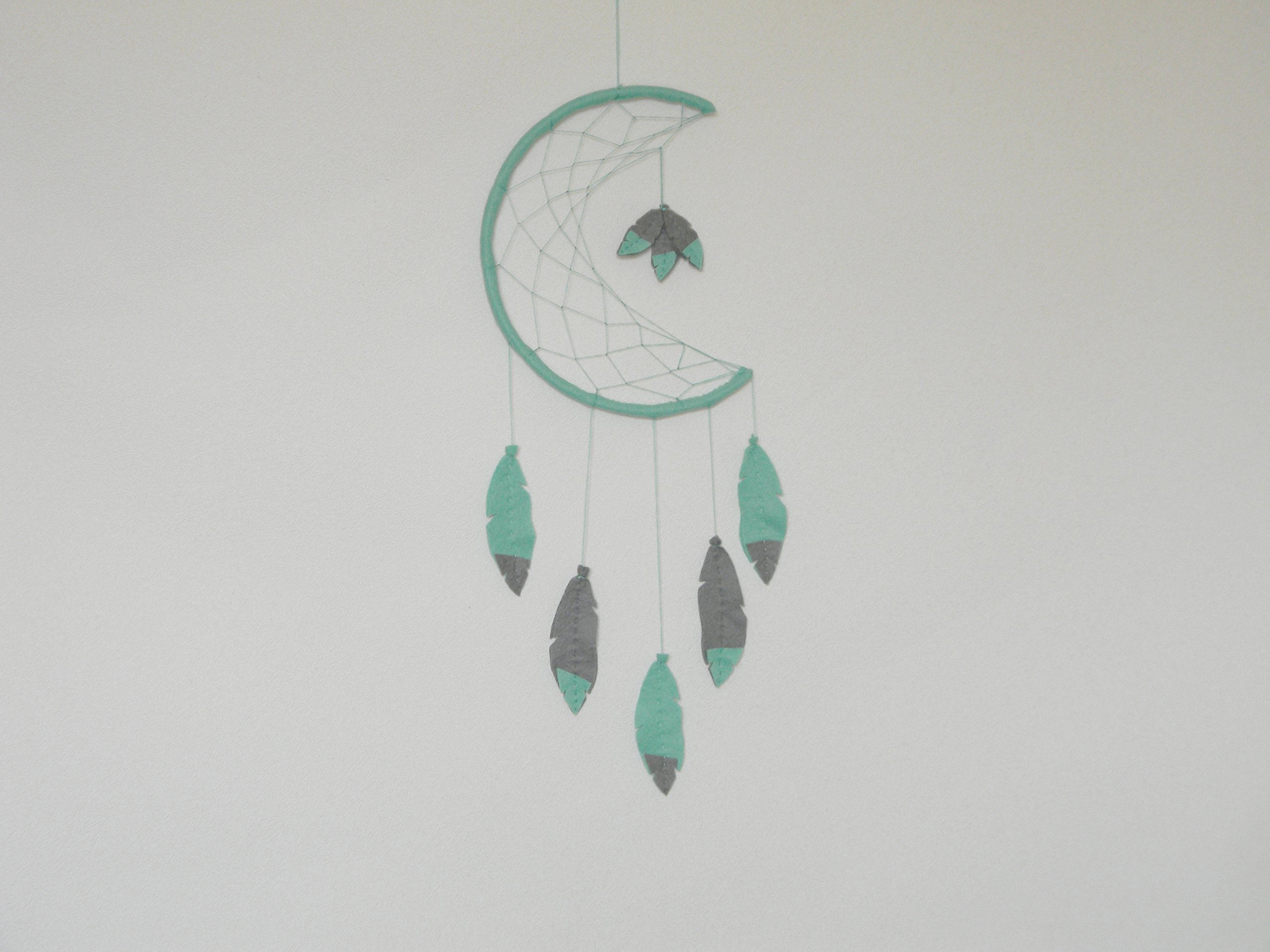 8b6eac4ae59 Get Quotations · Mint Grey Dream catcher mobile Dream catcher wall hanging  Felt dream catcher decor Boho dreamcatcher Crescent