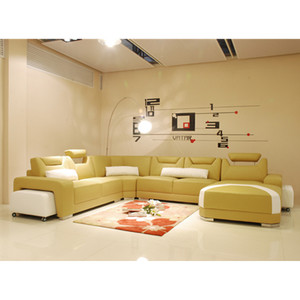 Sunshine simple light color series Leather Sofa In Oak Wood