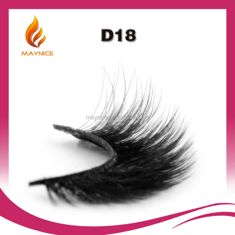 2016 wholesale korean 0.07 silk false eyelashes 100% handmade customer package private label D18