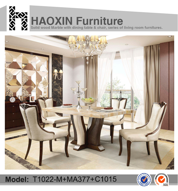 Malaysia antique style dining table set with paper marble top dining table and dining chair