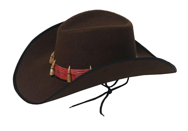 002d89c8e9a Get Quotations · Rimi Hanger Mens Brown Cowboy Hat Unisex Western Cowboy  Book Fancy Dress Costume Accessory One Size