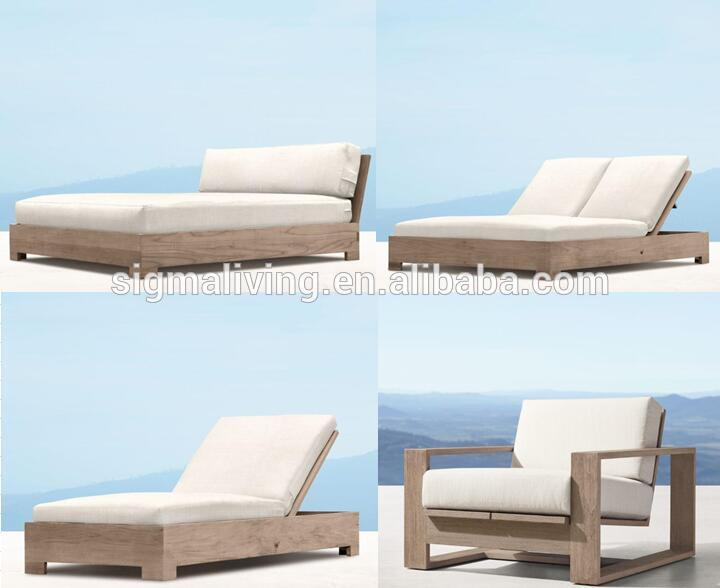 Wooden outdoor patio garden sets teak chaise sun bed furniture