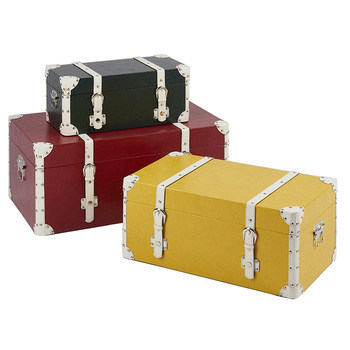 Different size decorative leather storage trunk boxes