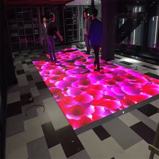 Wedding party tempered glass panel colorful RGB Led dancing floor