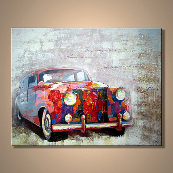 Banksy Type Modern Car Wall Art, Canvas Car Oil Painting, Modern Canvas Car Oil Painting