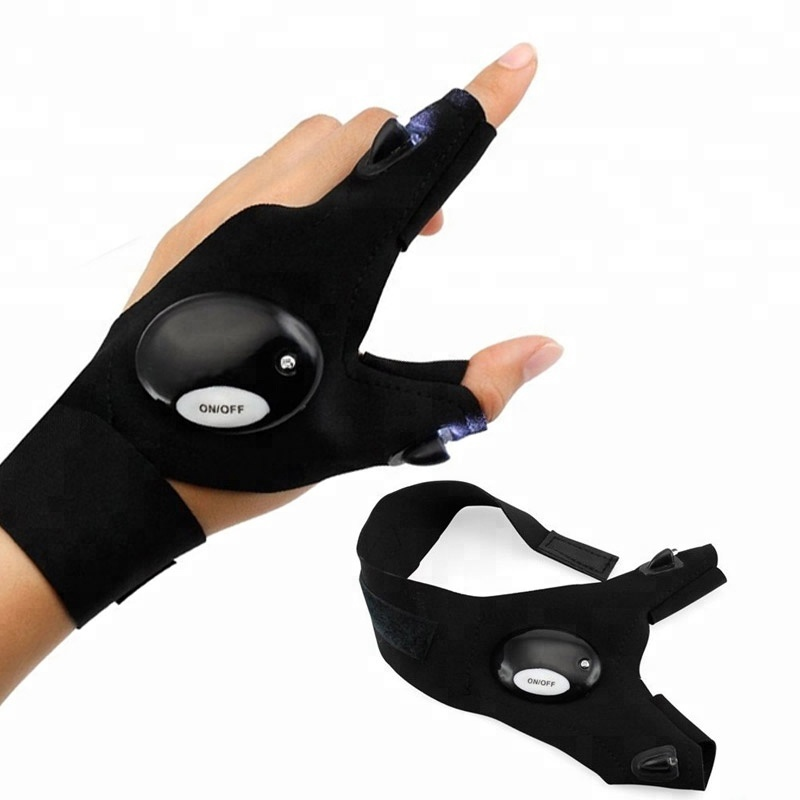LED Night Gloves Fingerless Strap Glow in Dark Camping Hiking Tackles Hands Free
