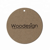 Wholesale fashion custom logo name recycled brown kraft paper hangtag label printing design round shape gift hang tags