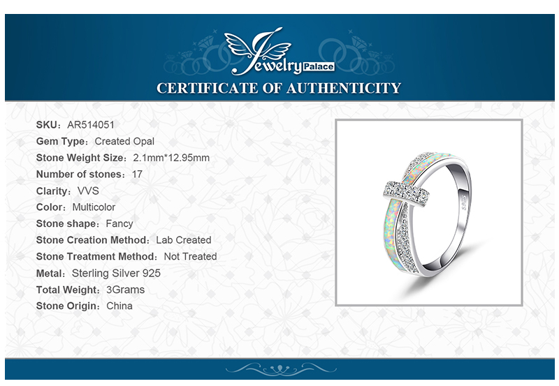 Mode Erstellt Opal Crossover Band Ring 925 Sterling Silber Von JewelryPalace