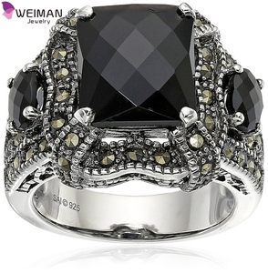 Checkerboard Cut and Marcasite black Onyx Ring