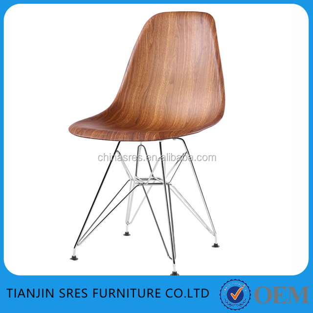 modern new design wholesale dining chair with PP wooden colour metal legs