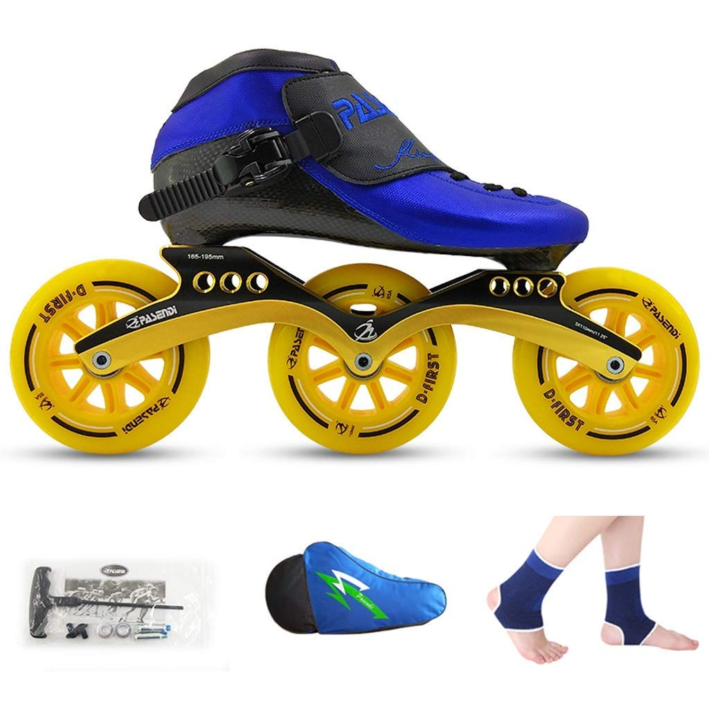 ailj Roller Skates, Speed Skating Shoes, Racing Shoes, Children's Adult Professional Skates, Men and Women Inline Skates (Color : Blue Shoes+Yellow Wheels, Size : 37)