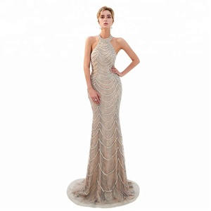 Sexy Backless Champagne Crystal Evening Dresses 2018 Beaded Lace 3D Floral sequined beaded crystal Prom gowns