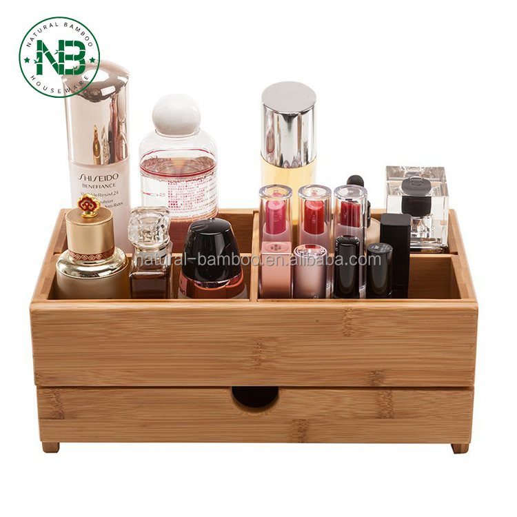 Bamboo Desktop Organizer Wooden Cosmetics Storage Box Mini Desk Makeup With Drawers