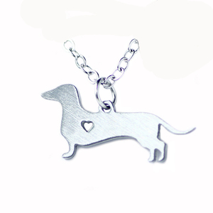 Simple deign Stainless steel Dachshund necklace Pet dog jewelry