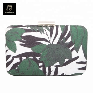 women leaves patterns hardware buckle PVC clutch evening for sale